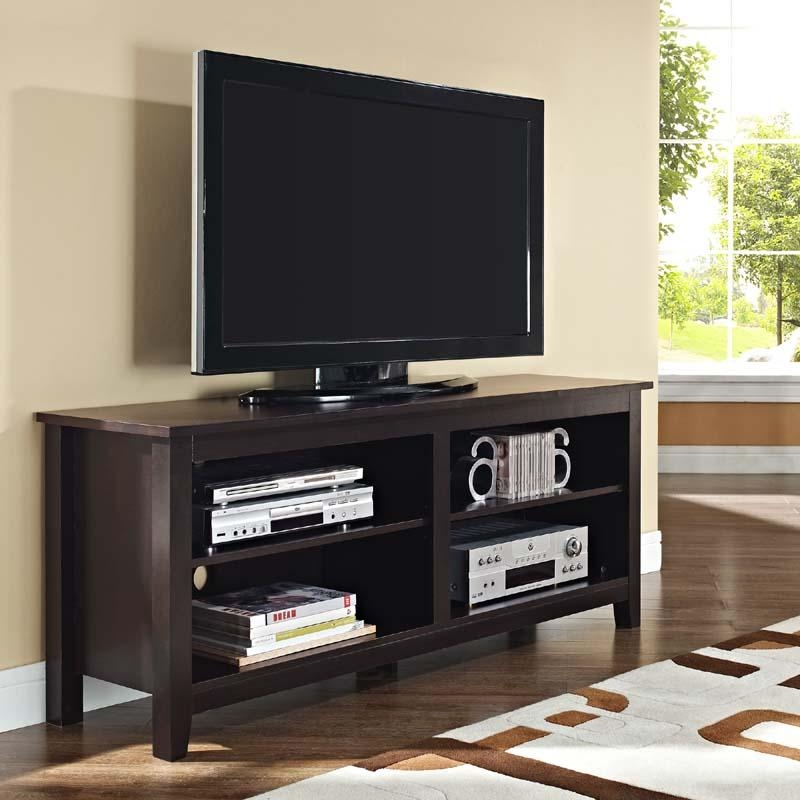 Walker Edison Open Shelf 60 Inch Tv Stand Espresso W58Cspes For 2018 Open Shelf Tv Stands (Image 19 of 20)