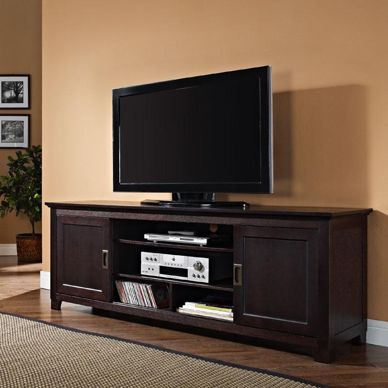 Walker Edison Solid Wood 70 Inch Tv Stand With Sliding Doors Inside Newest Tv Stands For 70 Inch Tvs (Photo 2 of 20)