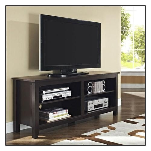 "Walker Edison Tv Stand For Flat Panel Tvs Up To 60"" Brown Intended For Most Popular Modern Tv Stands For 60 Inch Tvs (Image 19 of 20)"