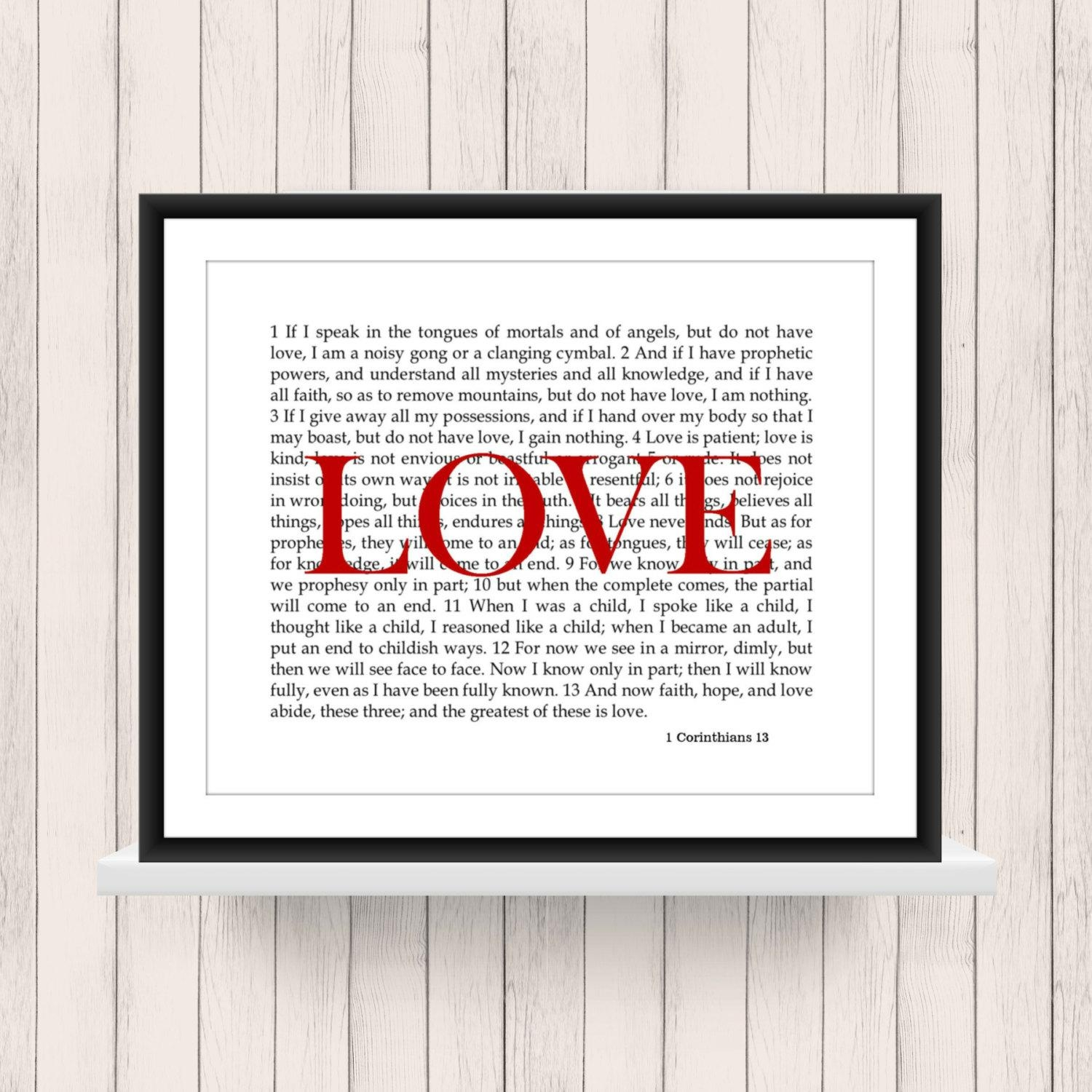Wall Art 1 Corinthians 13 Love Scripture Digital Download Pertaining To 1 Corinthians 13 Wall Art (Image 17 of 20)