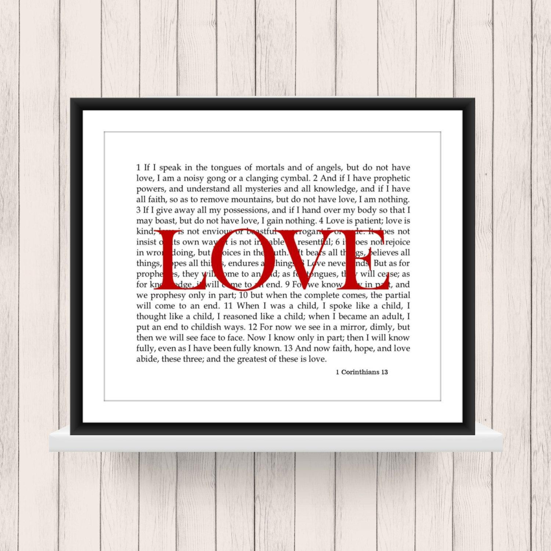 Wall Art 1 Corinthians 13 Love Scripture Digital Download Pertaining To 1 Corinthians 13 Wall Art (View 19 of 20)