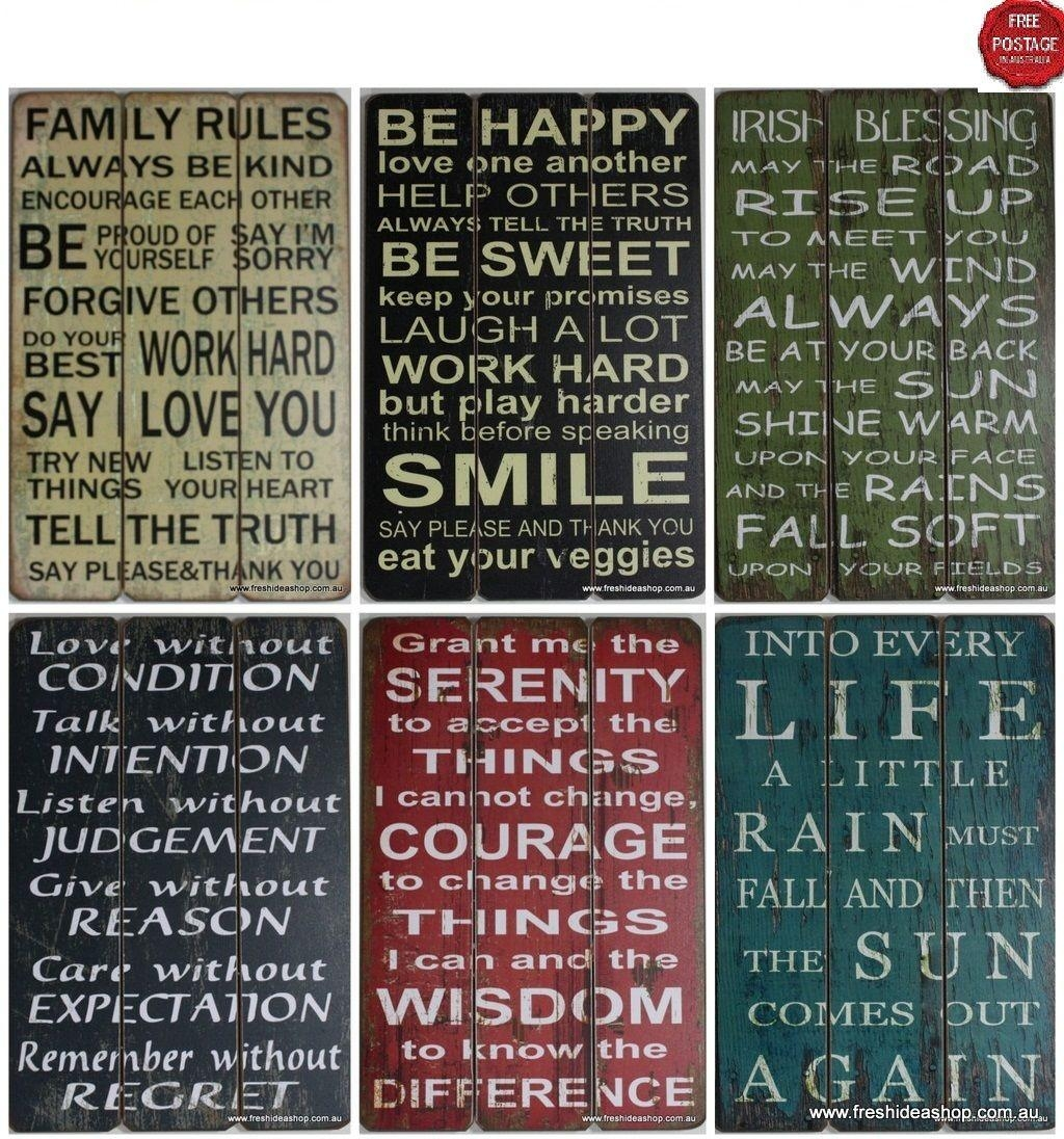 Wall Art Design Ideas: Combination Word Plaques Wall Art Multi Throughout Wooden Word Art For Walls (View 17 of 20)