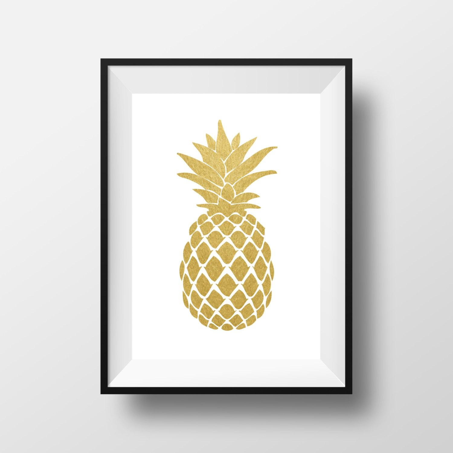 Wall Art Design Ideas: Gold White Pineapple Wall Art Paper Black Intended For Pineapple Metal Wall Art (View 3 of 20)