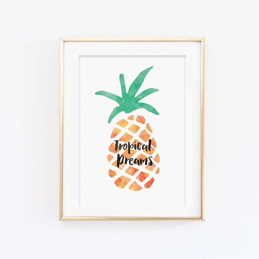 Wall Art Design Ideas: Tropical Dreams Pineapple Wall Art Modern Pertaining To Pineapple Metal Wall Art (Image 17 of 20)