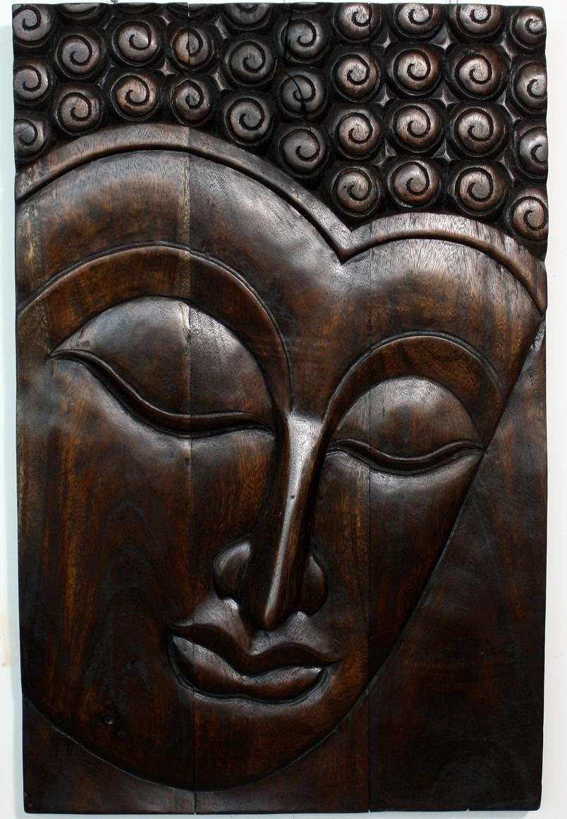 Hand Carved Wooden Thai Buddha Face Wall Art Plaque: 20 Ideas Of Outdoor Buddha Wall Art