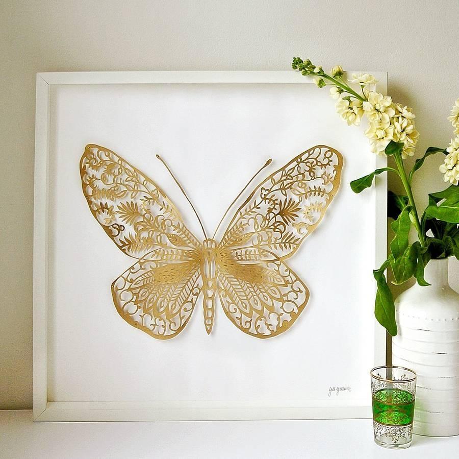 Wall Art Designs: Gold Wall Art Framed Handmade 3D Butterfly Paper For 3D Butterfly Framed Wall Art (Image 17 of 20)