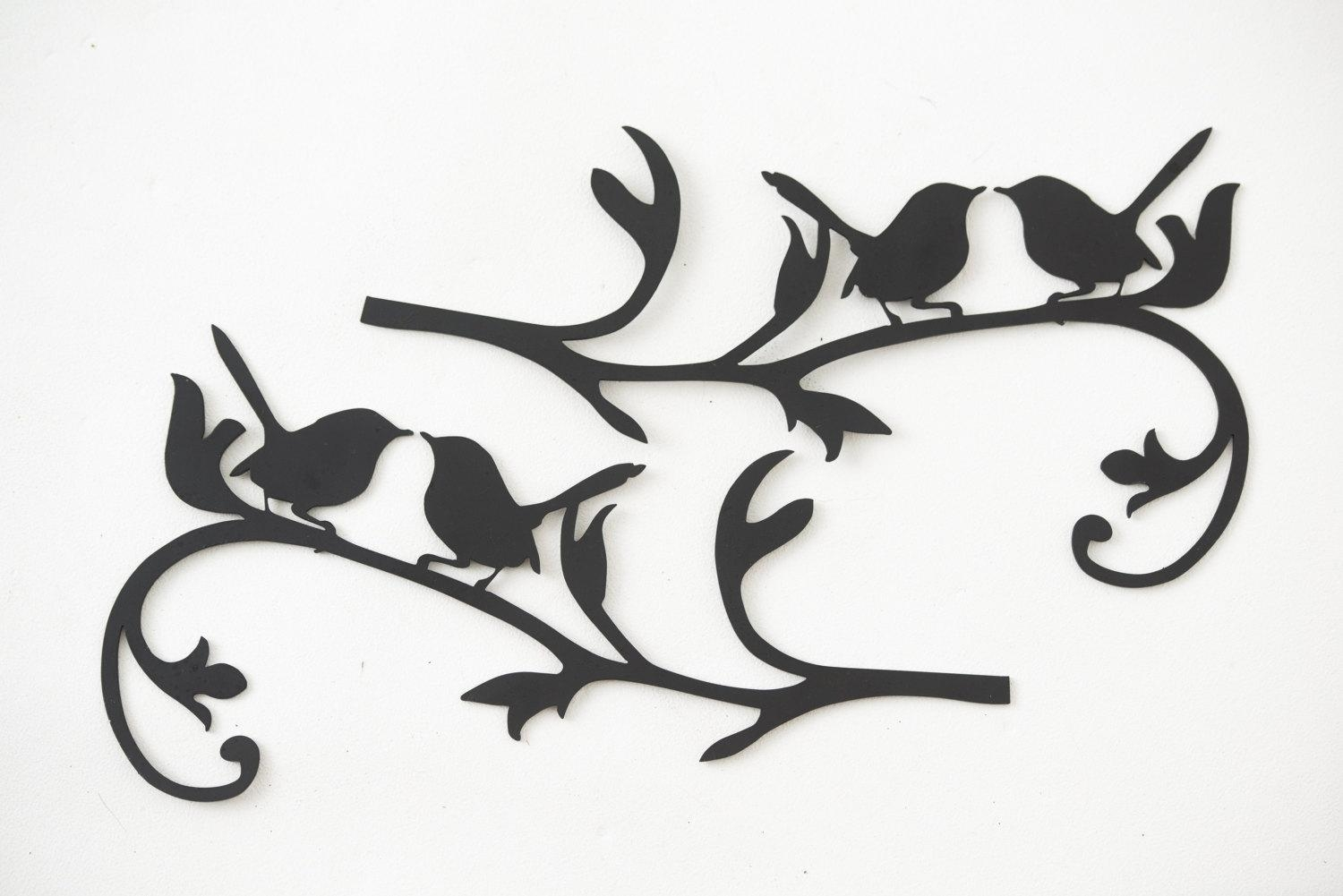 Wall Art Designs: Metal Bird Wall Art Hand Drawn And Laser Cut With Metal Flying Birds Wall Art (Image 11 of 20)