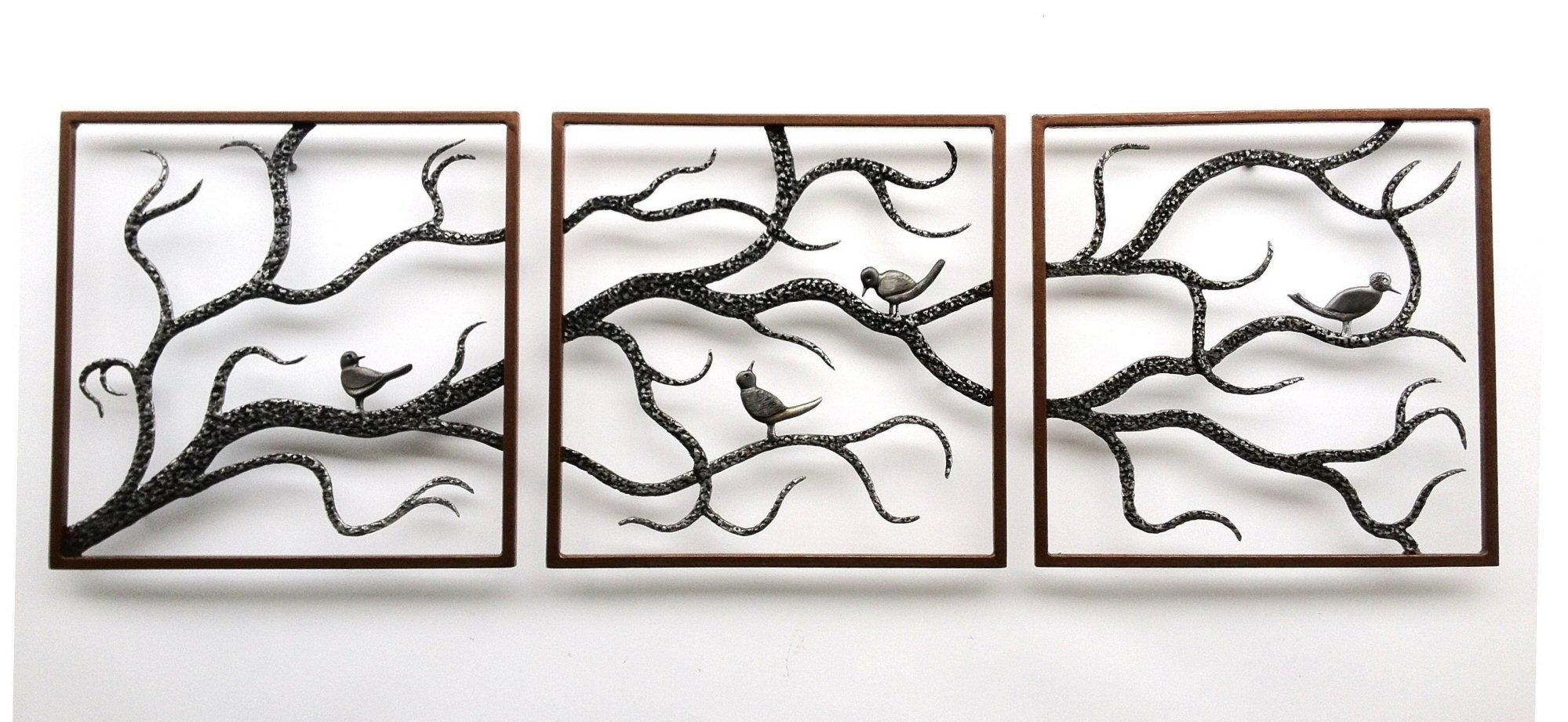 Wall Art Designs: Metal Wall Art Trees Birch Three Framed Cute For Large Metal Wall Art Sculptures (Image 16 of 20)