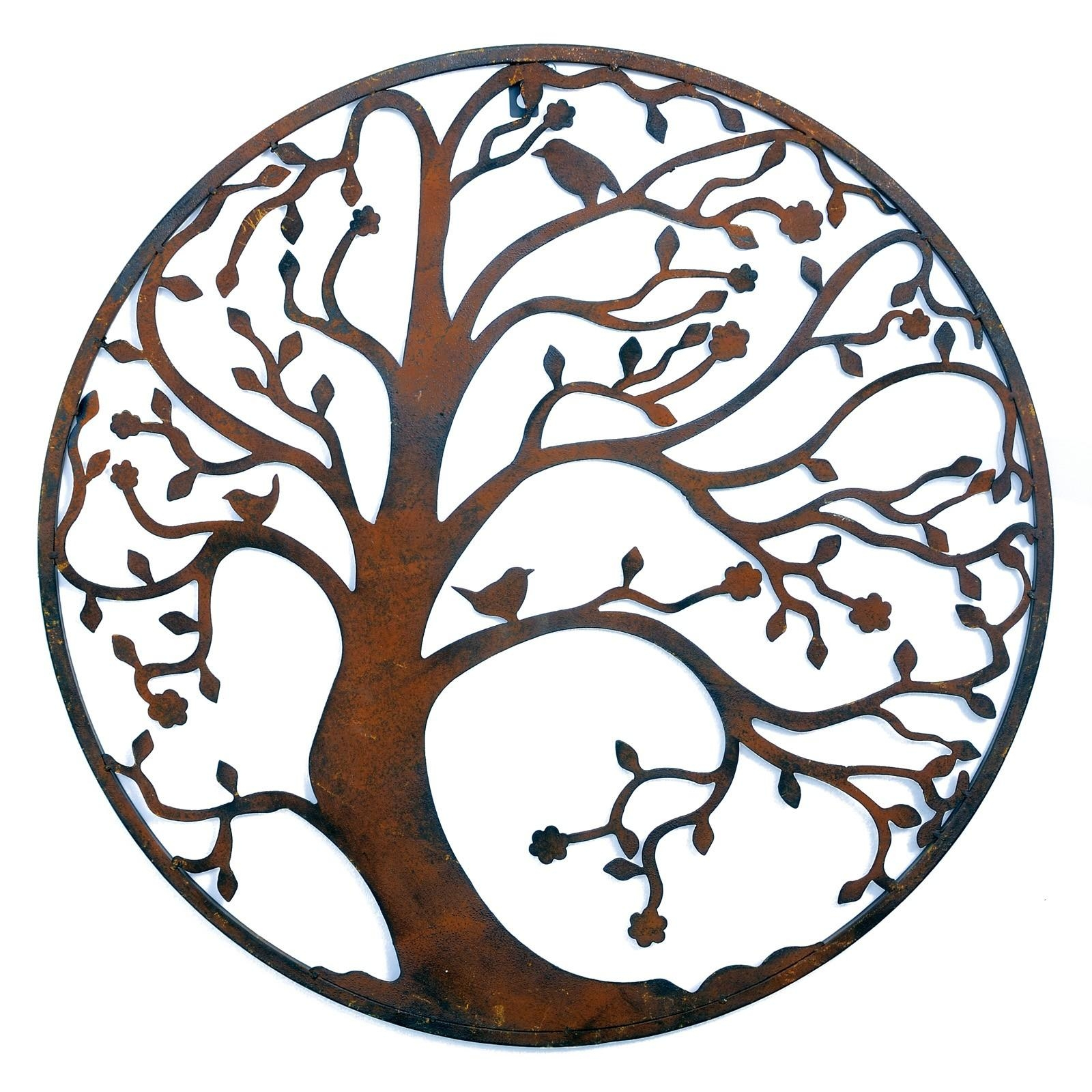 Wall Art Designs: Rusted Classic Design Tree Leaf Branch Birds In Large Round Metal Wall Art (Image 7 of 20)