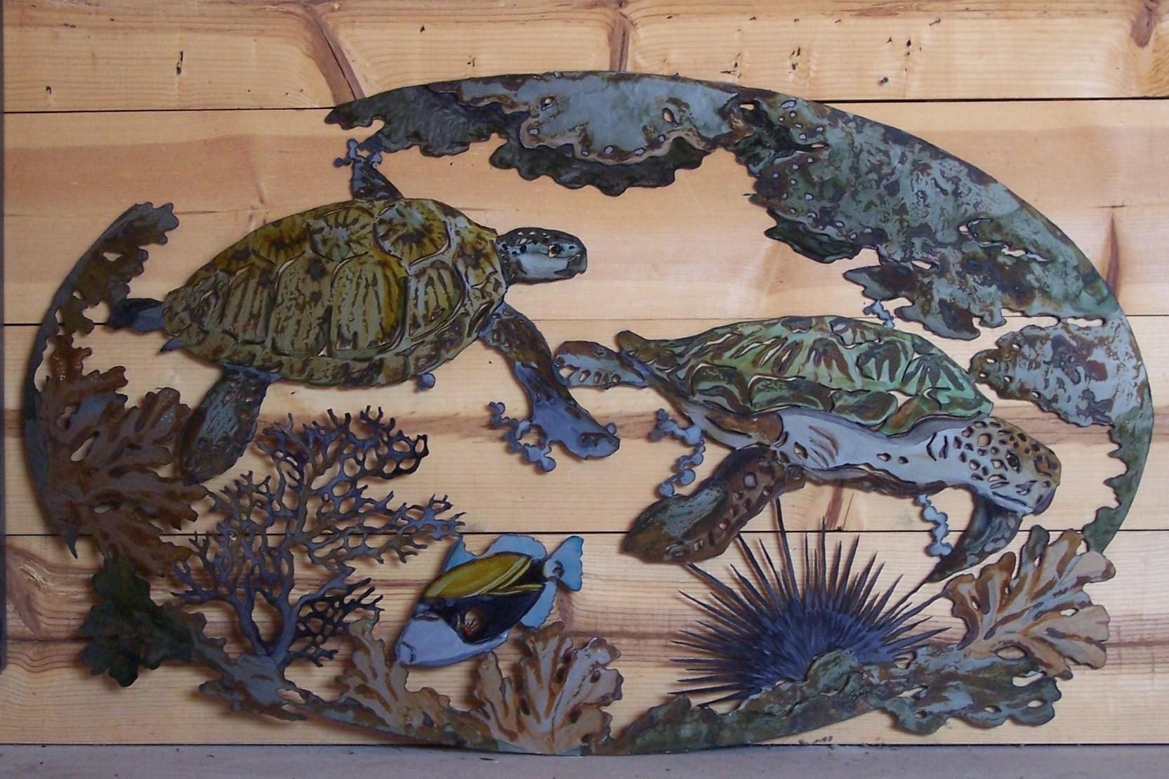 Superbe Wall Art Designs: Sea Turtle Wall Art Underwater Fish Coral For Sea Turtle  Metal Wall