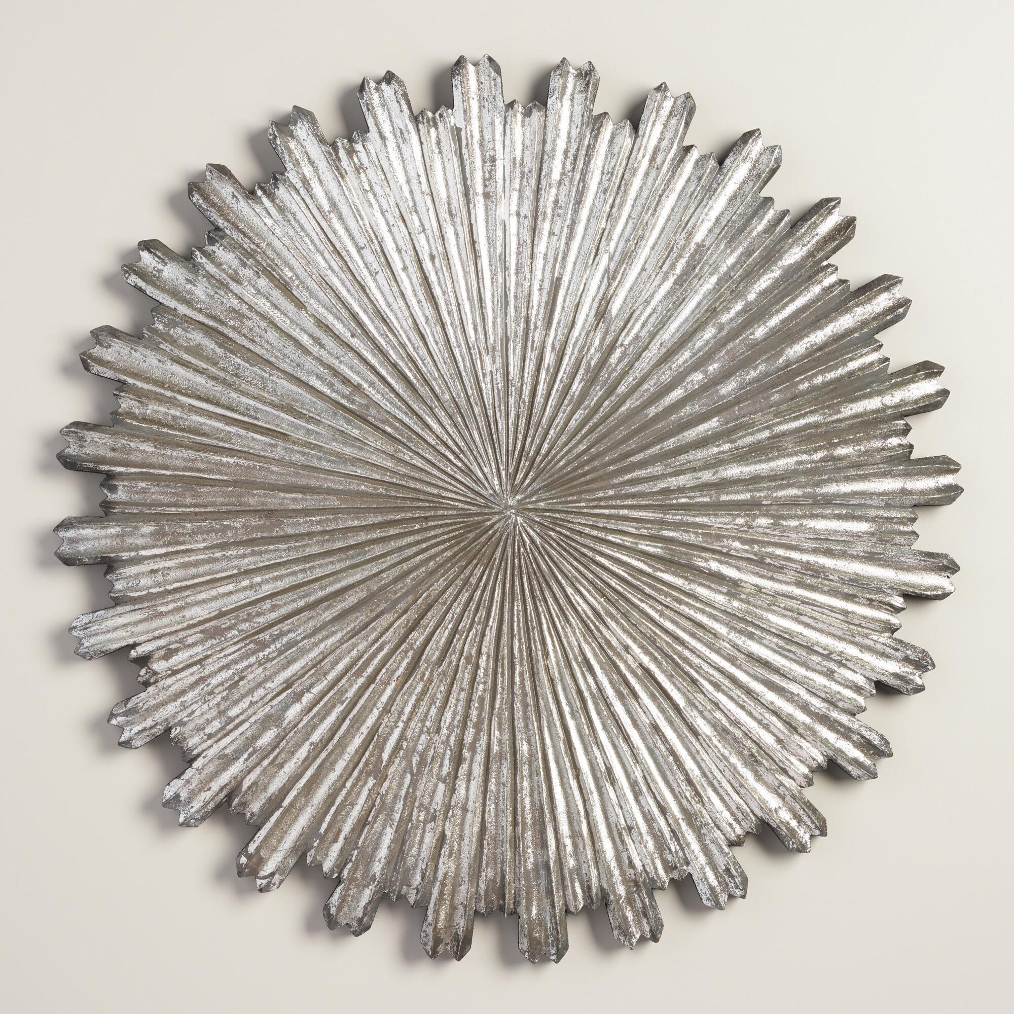 Wall Art Designs: Sunburst Wall Art Silver Wall Decor On Metal With Regard To Silver Starburst Wall Art (View 4 of 20)