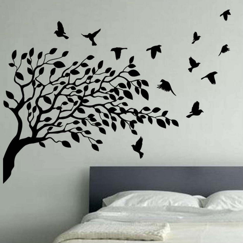 Wall Art Designs: Vinyl Wall Art Bedroom Vinyl Wall Art Black Tree Within Wall Art Designs (View 11 of 20)
