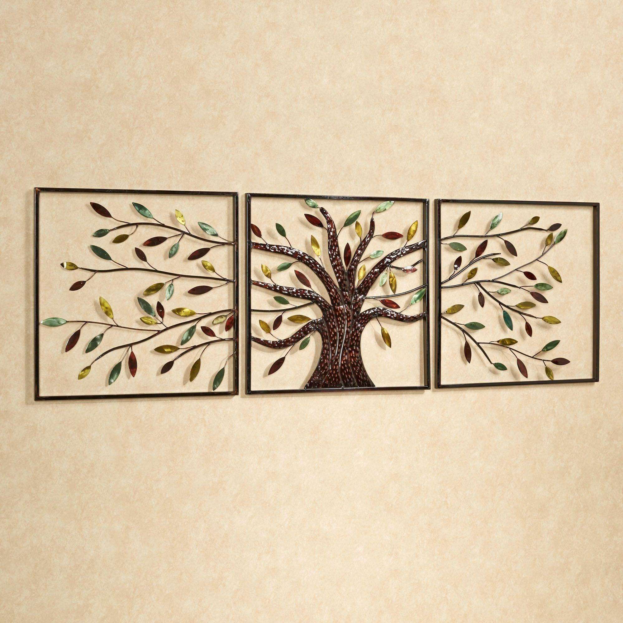 Wall Art Ideas Design : Ever Changing Tree Wall Art Triptych Multi In Blue And Brown Wall Art (Image 19 of 20)