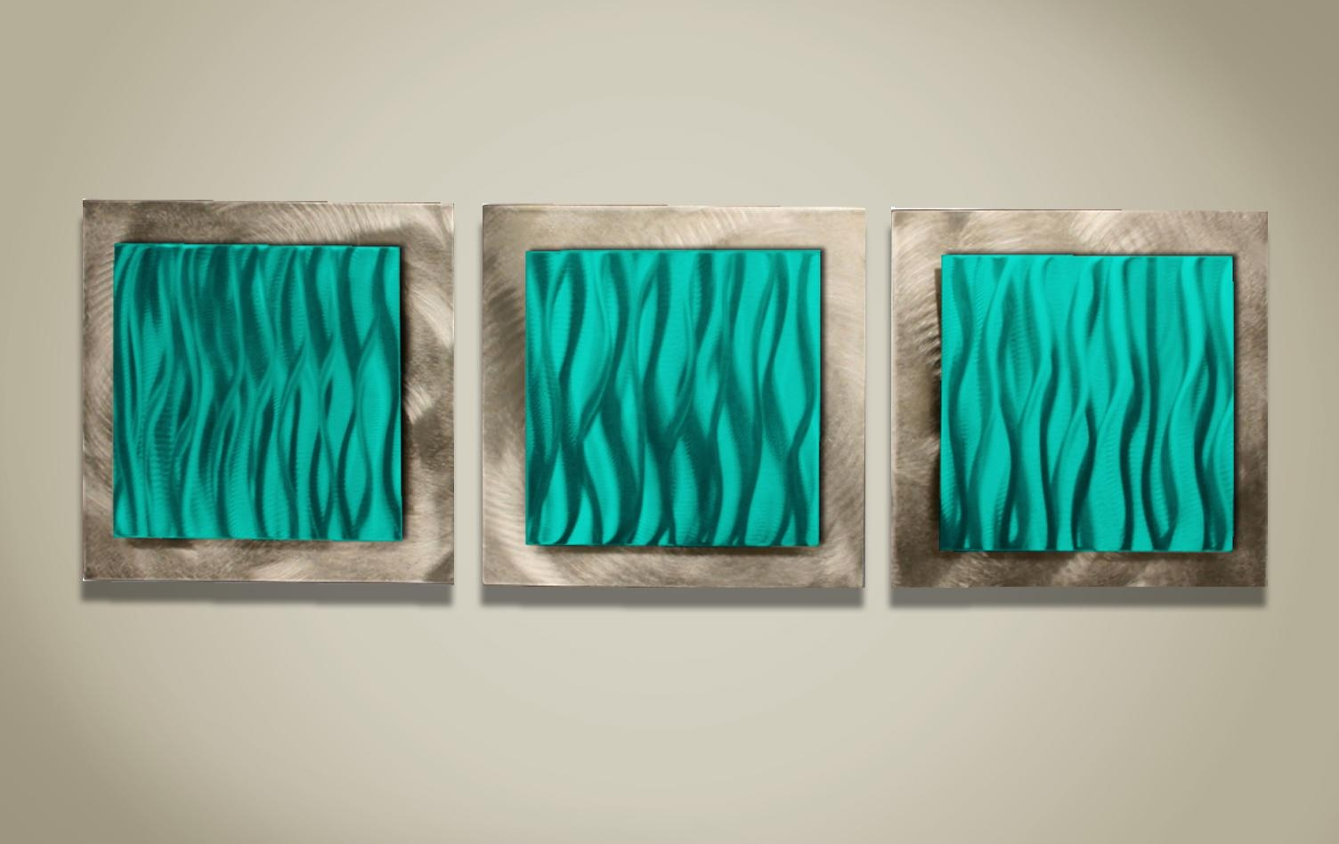 Wall Art Ideas Design : Teal Turquoise Metal Wall Art Sample Great With Regard To Glass Wall Art For Sale (Image 15 of 20)
