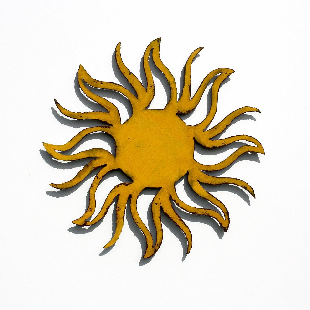 Wall Art Ideas Design : Yellow Decorations Metal Wall Art Sun Inside Large Metal Sun Wall Art (Image 14 of 20)
