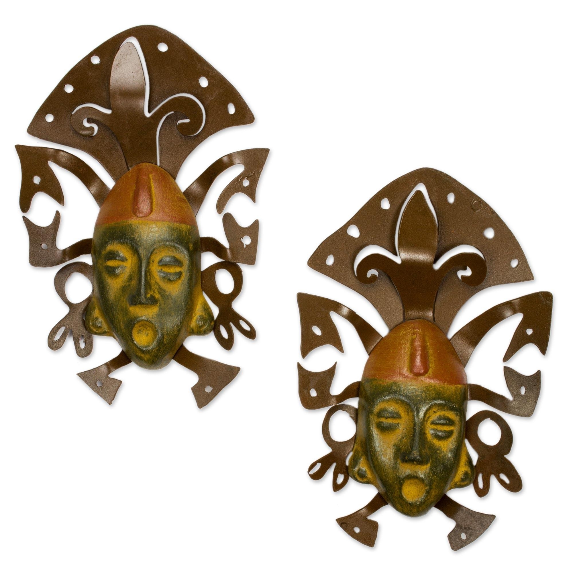 Wall Art Iron And Ceramic Mask Set Handmade Mexico – Maya Masks Throughout Mexican Ceramic Wall Art (Image 10 of 20)