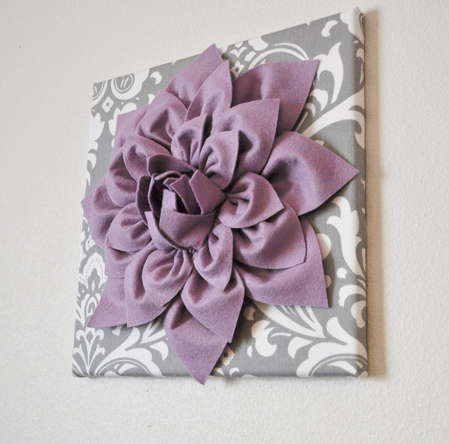 Wall Art Lilac Purple Dahlia On Gray And White Damask 12 With Regard To Purple Bathroom Wall Art (View 19 of 20)