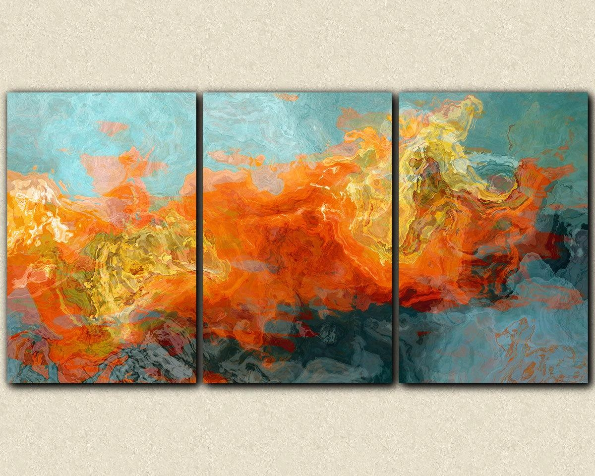 Wall Art: Outstanding Abstract Art On Canvas Abstract Prints On With Regard To Orange And Blue Wall Art (Image 18 of 20)