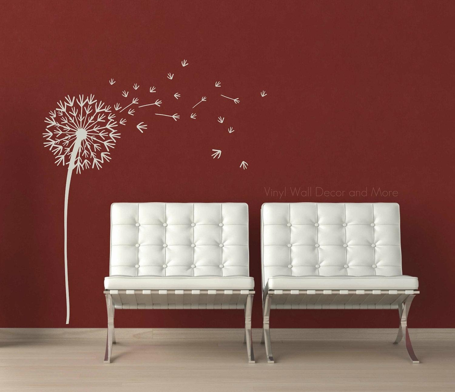 Wall: Beautiful Dandelion Wall Decal To Bring Your Room Feel Fresh Regarding Gold Wall Art Stickers (Image 19 of 20)