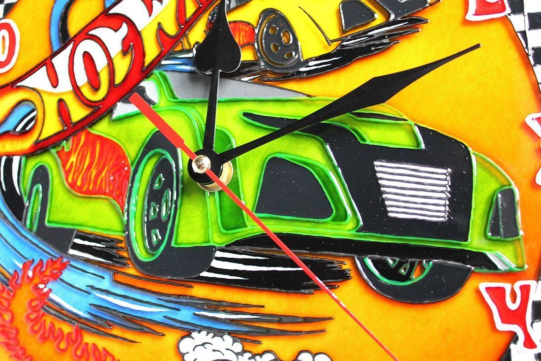 Wall Clock 12 Hours Quartz Stained Glass Paint Hot Wheels Bedroom With Regard To Hot Wheels Wall Art (View 6 of 20)