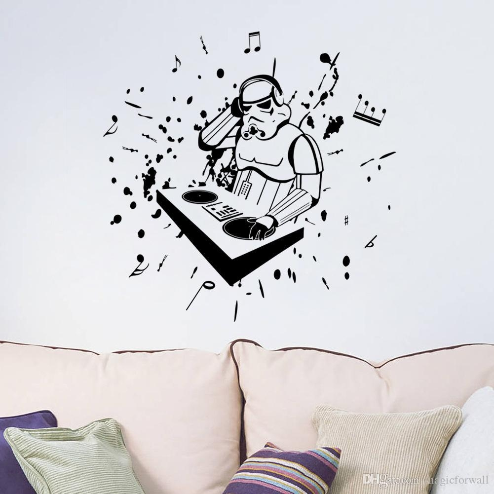 Wall Decal: Awesome Stick On Peel Off Wall Decals Stick On Wall Pertaining To Music Notes Wall Art Decals (Image 16 of 20)