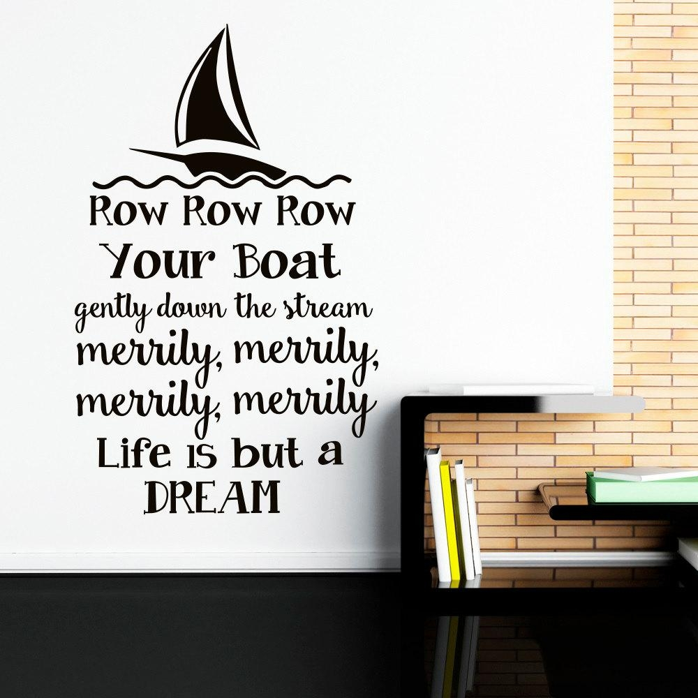 Wall Decal Row Row Row Your Boat Nursery Song Quote Nursery Pertaining To Lacrosse Wall Art (View 18 of 20)