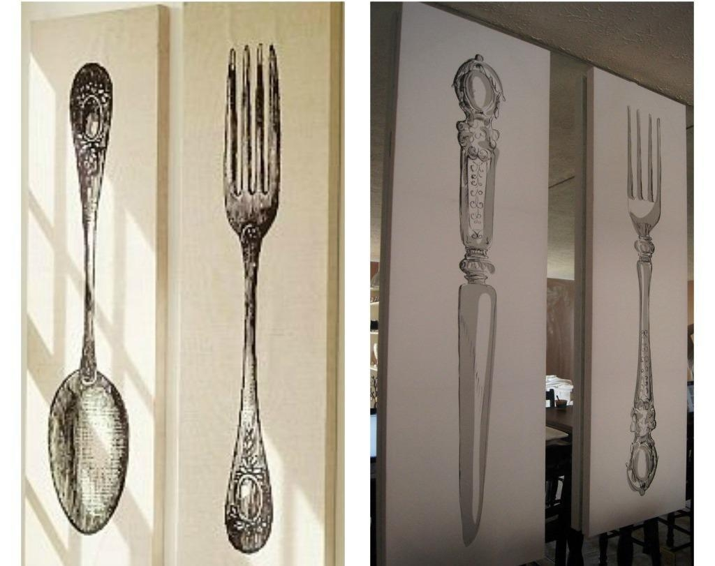 Wall Decor: Best Of Big Spoon And Fork Wall Decor Giant Spoon And Throughout Wooden Fork And Spoon Wall Art (Image 15 of 20)