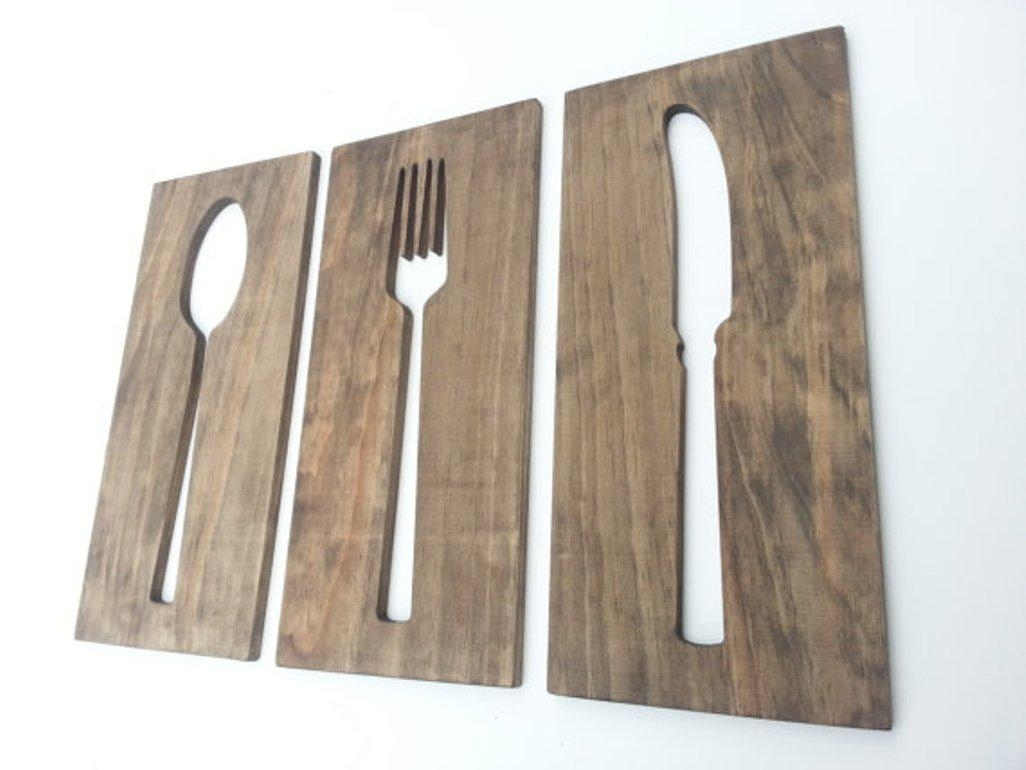 Wall Decor: Giant Spoon And Fork Wall Decor Ideas Giant Metal With Wooden Fork And Spoon Wall Art (Image 16 of 20)