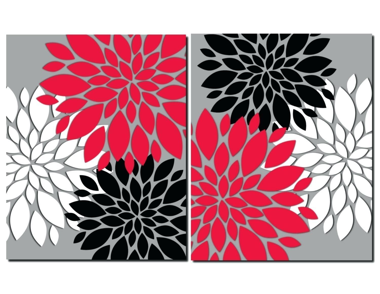 Wall Ideas : 3 Piece Photo Canvas Flower Artwork Purple Multi Regarding Silver Metal Wall Art Flowers (Image 15 of 20)