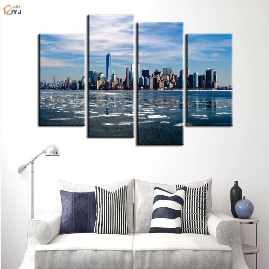 Wall Ideas : Chicago Skyline Vinyl Wall Art 3 Panel Set Printed Intended For Metal Wall Art New York City Skyline (Image 16 of 20)
