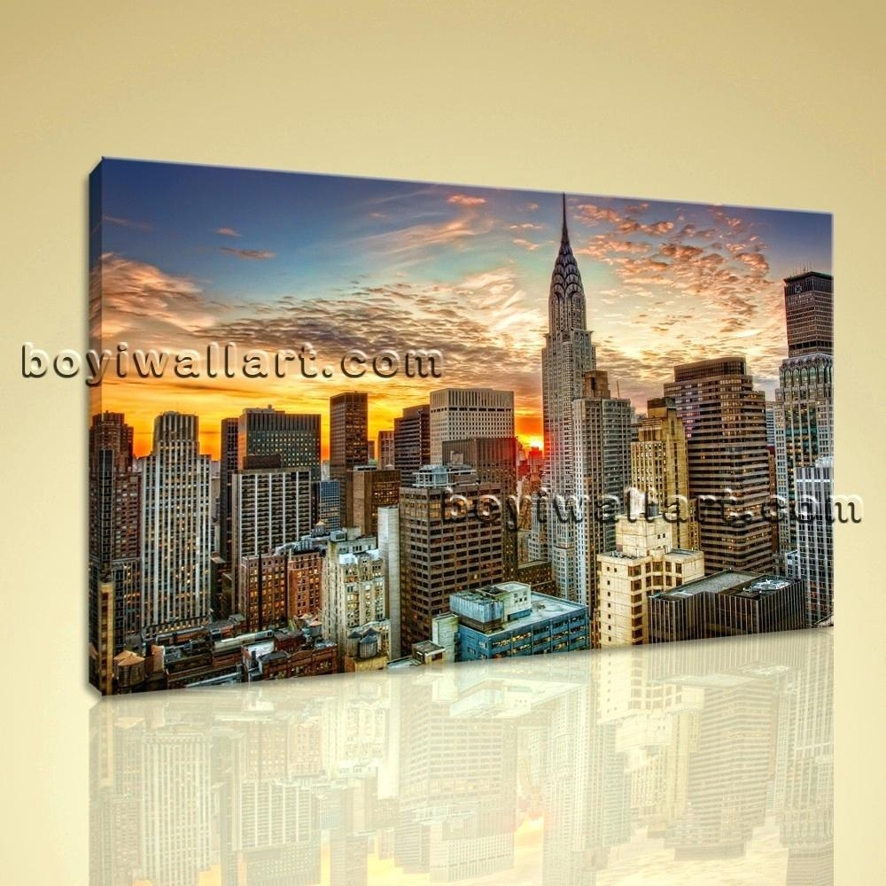 Wall Ideas : Chicago Skyline Vinyl Wall Art 3 Panel Set Printed Regarding Metal Wall Art New York City Skyline (View 4 of 20)