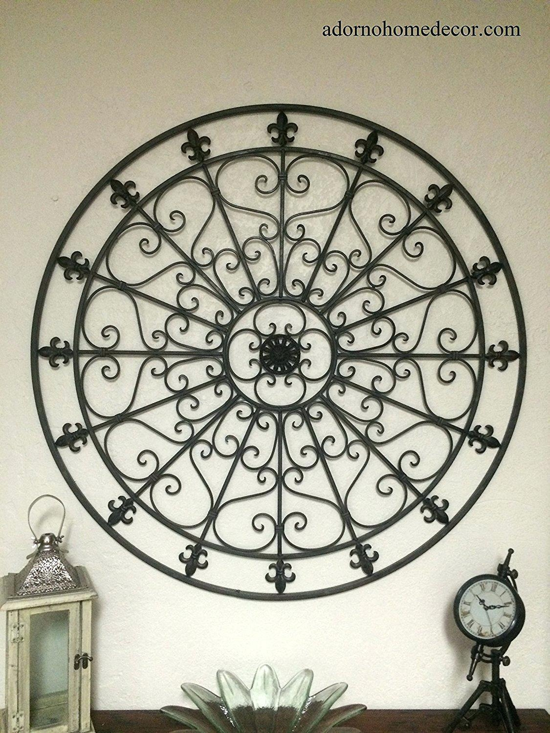 Wall Ideas : Iron Scroll Metal Wire Wall Medallion Hanging Art Throughout Large Round Metal Wall Art (Image 13 of 20)