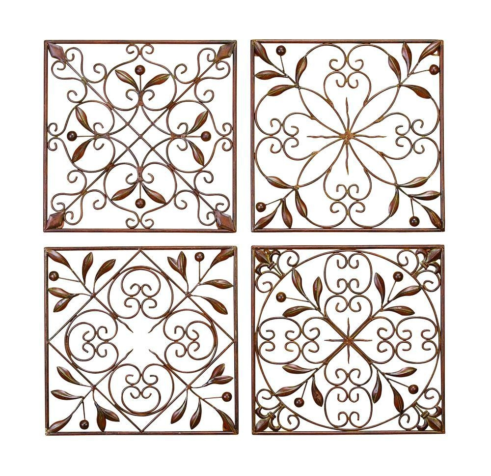 Wall Ideas : Iron Scroll Metal Wire Wall Medallion Hanging Art With Large Wrought Iron Wall Art (Image 14 of 20)