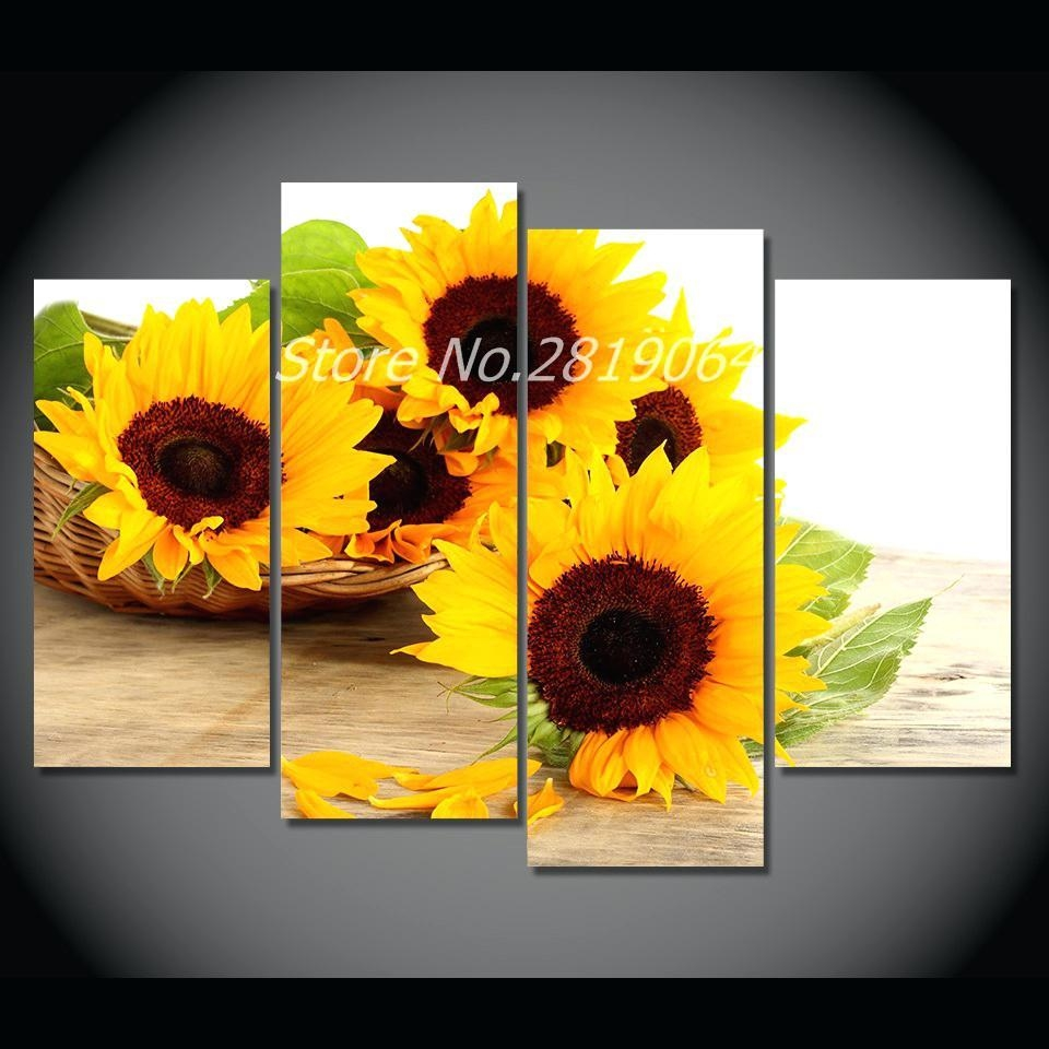 Wall Ideas : Large Sunflower Wall Decor Leonid Afremov Sunflower Throughout Metal Sunflower Wall Art (Image 14 of 20)
