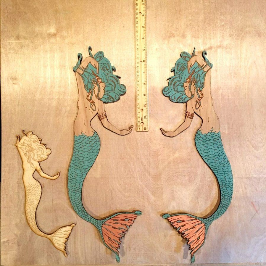 Wall Ideas : Large Wooden Mermaid Wall Art Wooden Mermaid Wall Art Regarding Mermaid Wood Wall Art (Image 14 of 20)