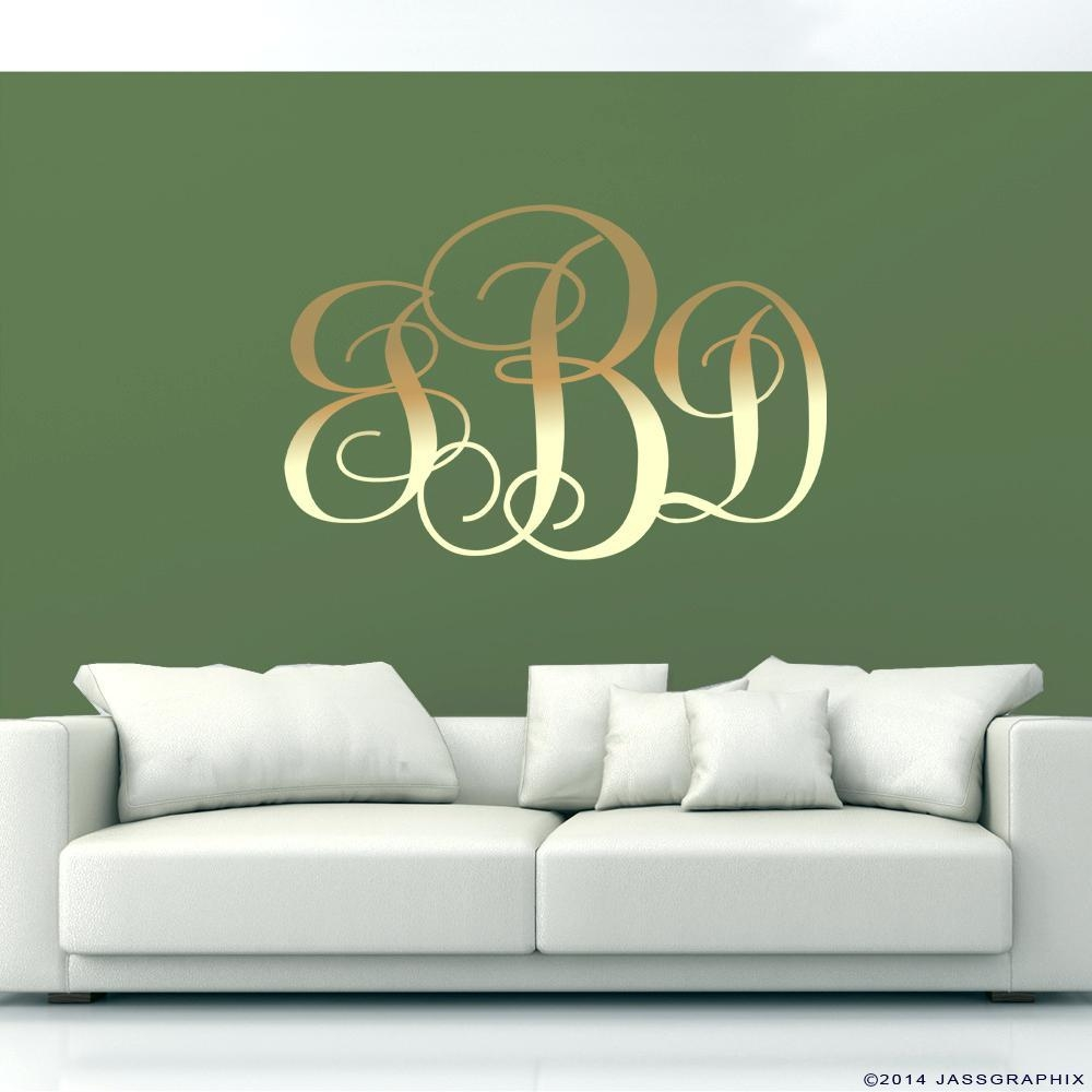 Wall Ideas : Outdoor Monogram Wall Art Monogrammed Nursery Wall Regarding Monogram Metal Wall Art (View 19 of 20)