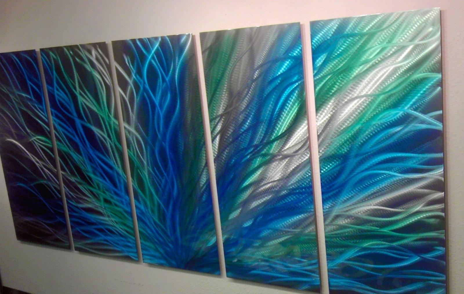 Wall Ideas: Turquoise Metal Wall Art (View 4 of 20)
