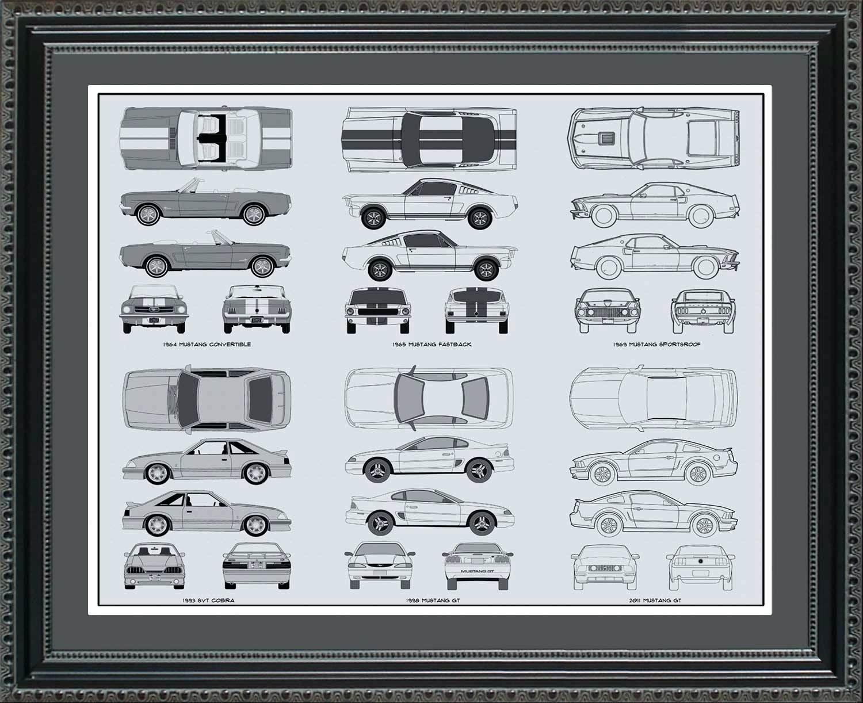 Wall Ideas : Vintage Blueprint Wall Art Plane Blueprint Wall Art Within Ford Mustang Metal Wall Art (Image 19 of 20)