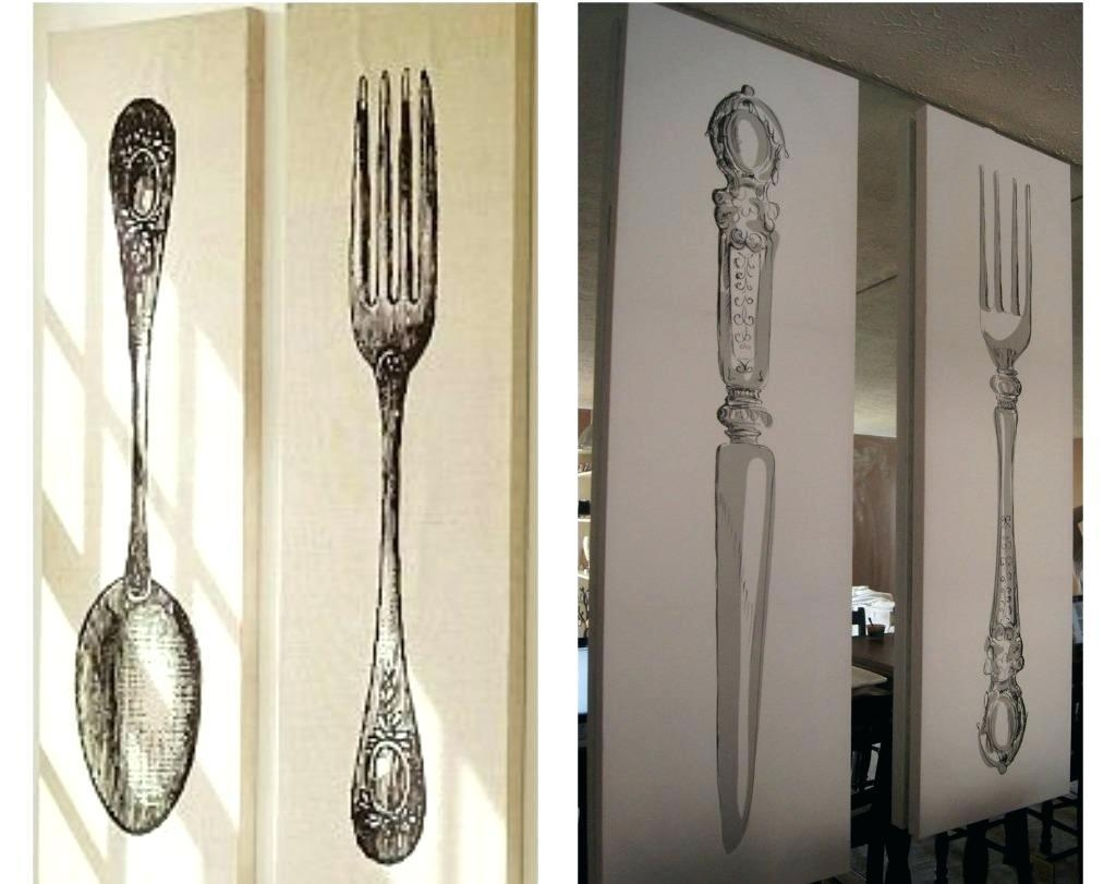 Wall Ideas : Wooden Utensil Wall Art 22 Contemporary Kitchen Wall Pertaining To Silverware Wall Art (Image 20 of 20)