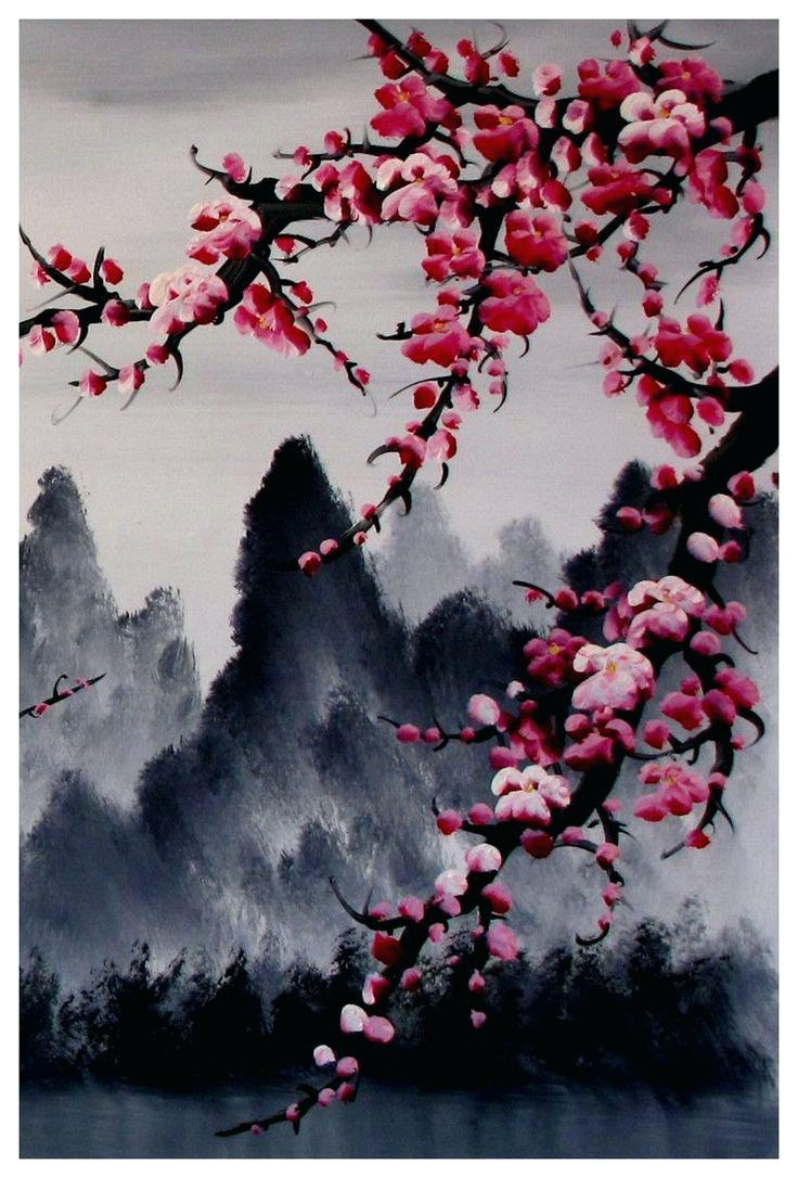 Wall Ideas : Zoom Cherry Blossom Tree Canvas Wall Art Cherry Regarding Cherry Blossom Vinyl Wall Art (View 12 of 20)