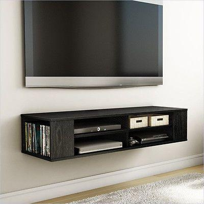 Wall Mounted Media Console Black Tv Stand Entertainment Center Intended For Most Current Tv Stands For Small Spaces (View 8 of 20)