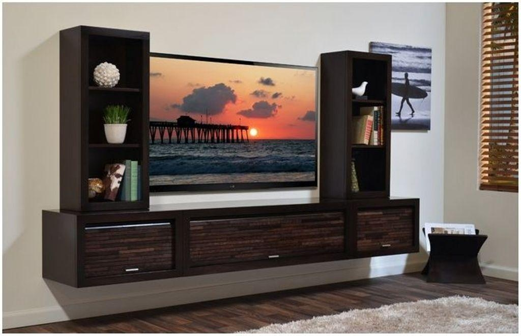 20 best ideas wall mounted tv cabinets for flat screens for Small wall mounted tv for kitchen