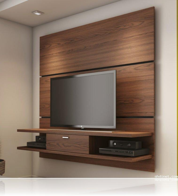 Wall Mounted Tv Stand Awesome Wood Wall Mounted Tv Stand Inside Current Tv Stand Wall Units (Image 13 of 20)