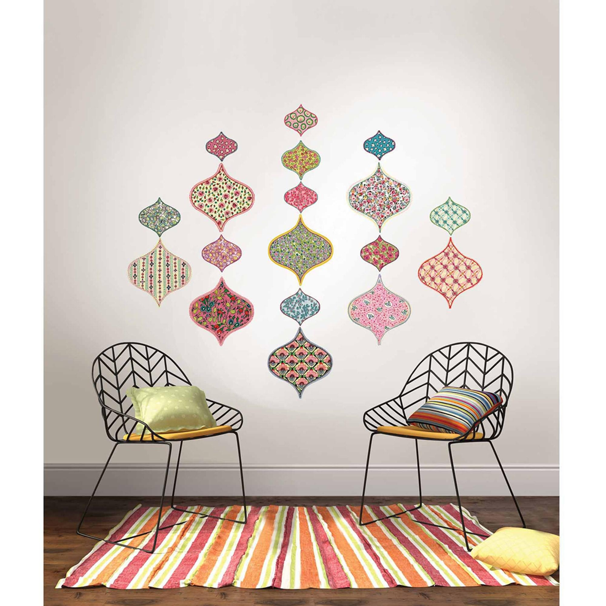 Wall Pops Boho Chic Ogee Large Wall Art Decal Kit – Walmart For Boho Chic Wall Art (View 3 of 20)