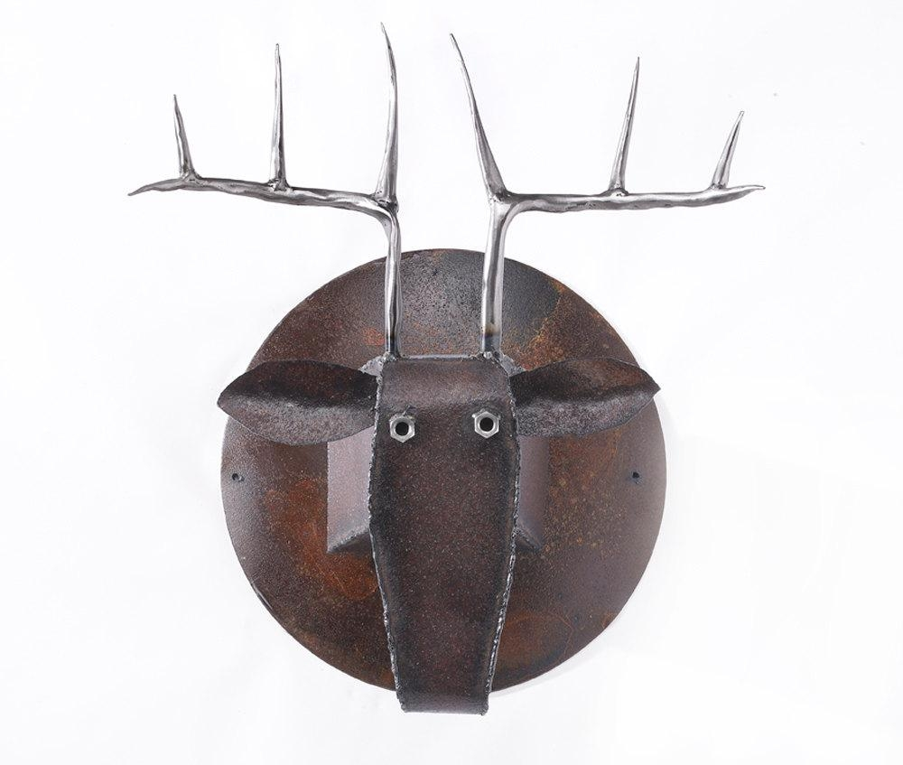 Wall Sculpture Deer Head Art Metal Mounted Animal Head With Regard To Metal Animal Heads Wall Art (View 3 of 20)