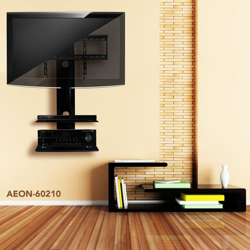 Wall Shelves Design: Sophisticated Tv Wall Mount With 2 Shelves With Regard To Most Popular Shelves For Tvs On The Wall (View 9 of 20)
