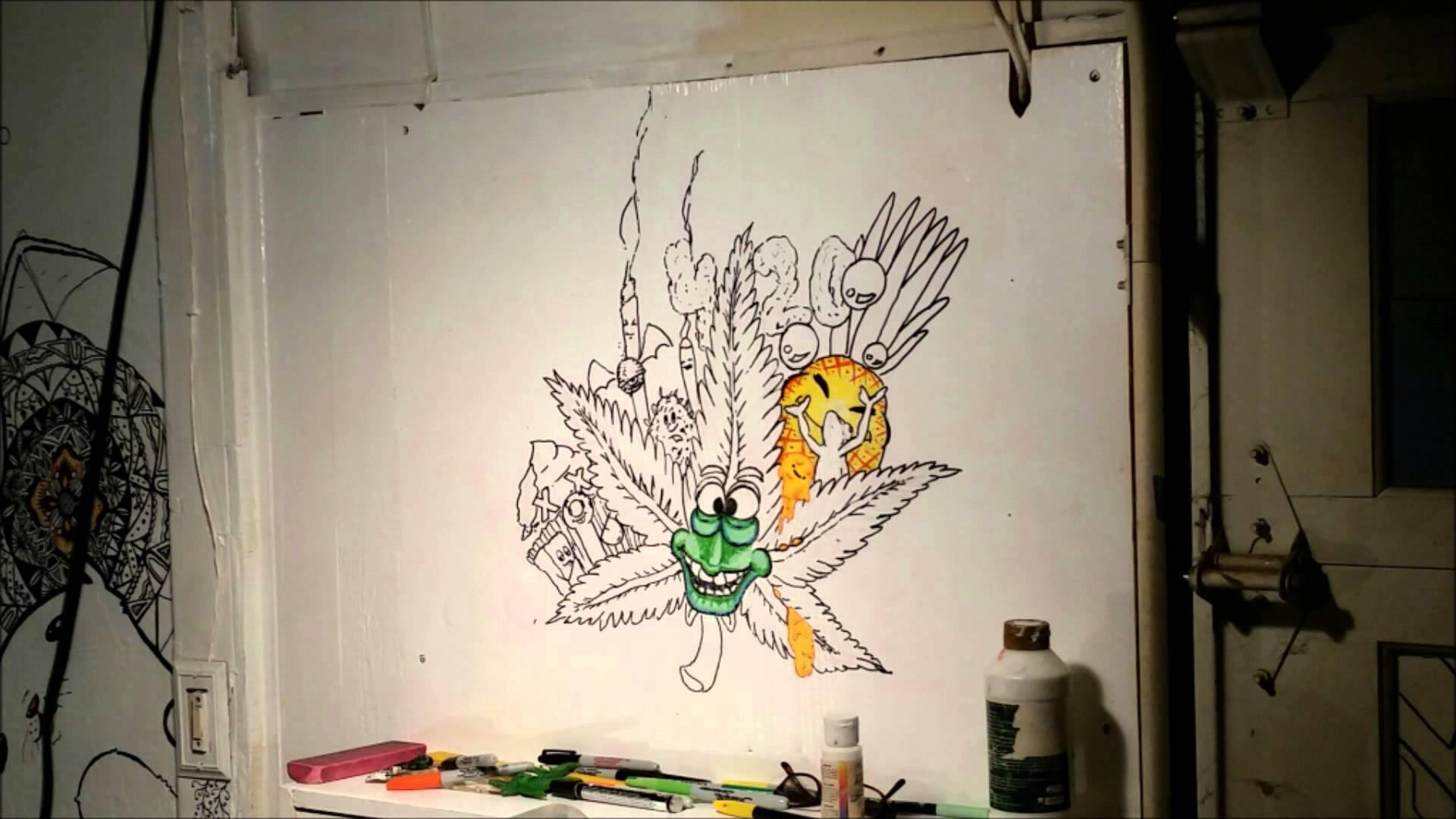 Wall Speed Drawing Cannabis Doodle Art Sharpie – Youtube With Regard To Sharpie Wall Art (Image 19 of 20)