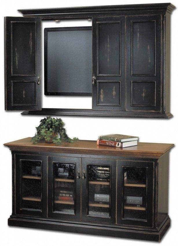 Wall Units: Astounding Tv Wall Cabinet Wall Mount Tv Stands, Wall With Regard To Best And Newest Black Tv Cabinets With Doors (Image 20 of 20)