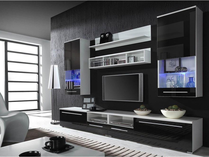 Wall Units: Glamorous Black Wall Units For Living Room Walmart With Most Recent Black Gloss Tv Wall Unit (Image 17 of 20)