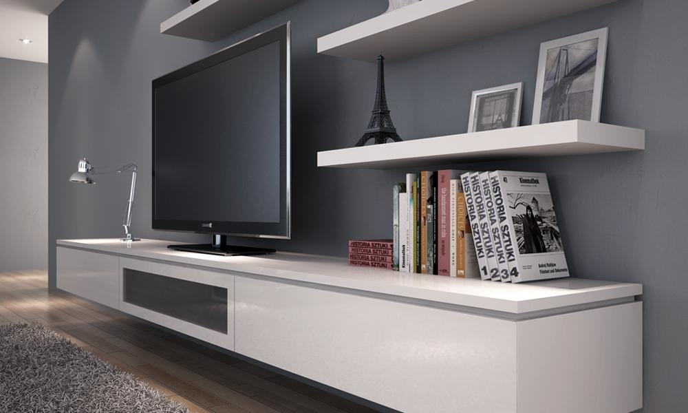Wall Units: Interesting White Wall Unit Entertainment Center White With Current White Wall Mounted Tv Stands (Image 15 of 20)